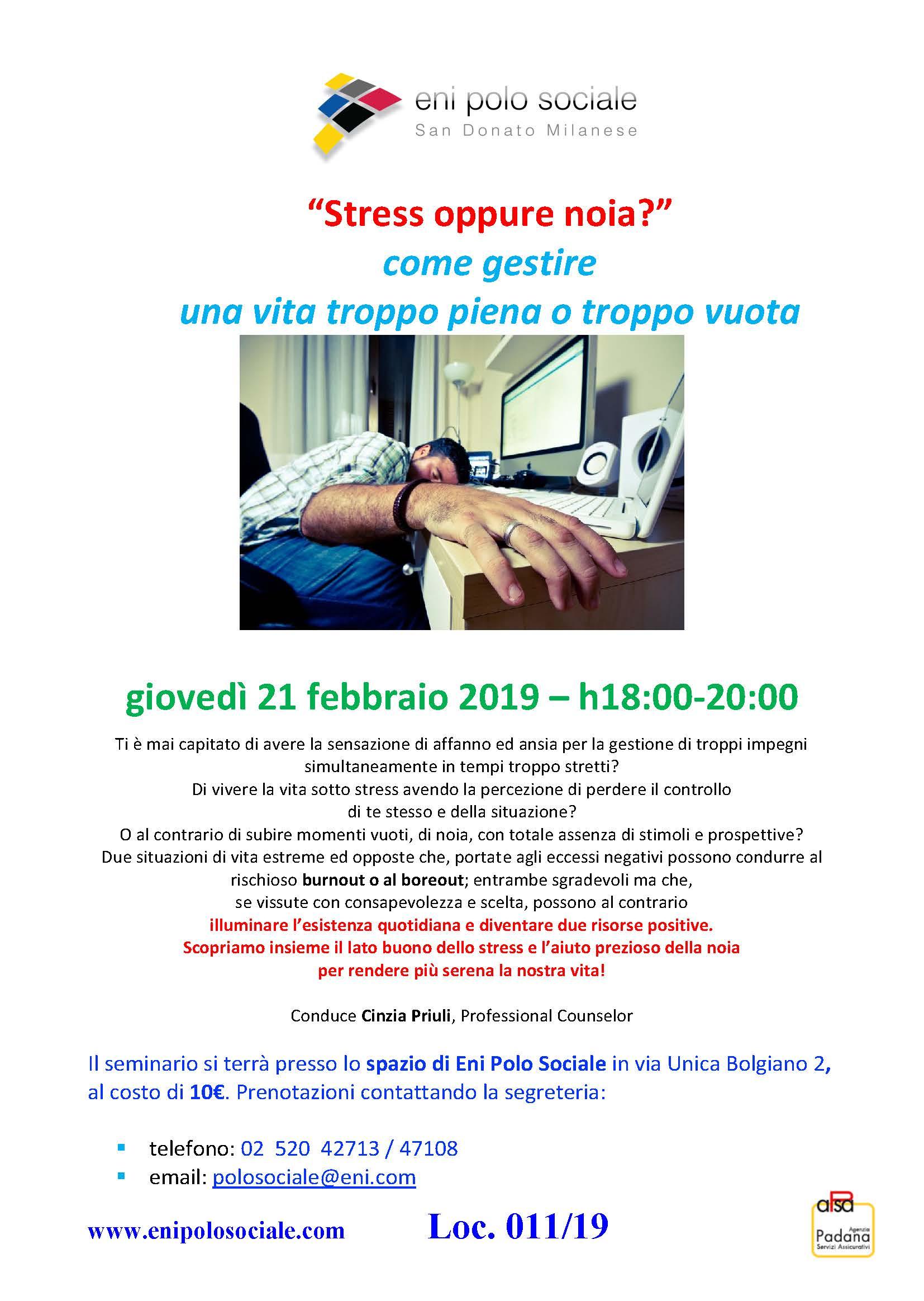 Stress oppure noia 21 febb 2019
